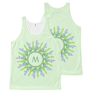 Your Monogram in a Leaf Frame custom tank top