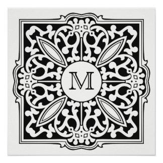 YOUR MONOGRAM in decorative frame custom poster