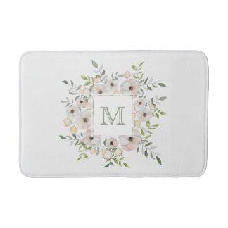 Your Monogram in Flower Frame bath mats