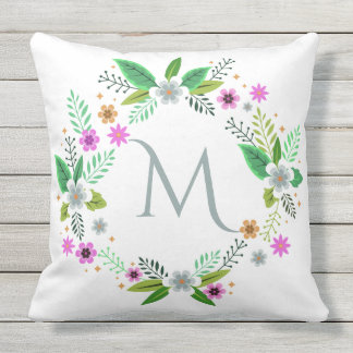 Your Monogram in Flower Frame throw pillow