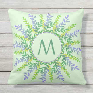 Your Monogram in Leaf Frame throw pillow