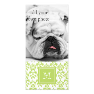 Your Monogram Light Green Damask Pattern 2 Personalized Photo Card