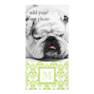 Your Monogram Light Green Damask Pattern 2 Picture Card