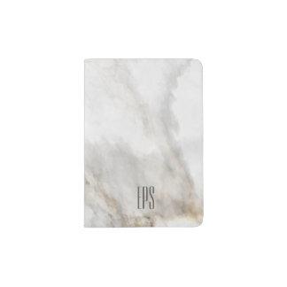 Your monogram name Elegant Marble Look texture Passport Holder