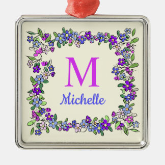 Your Monogram & Name in Flower Frame Metal Ornament