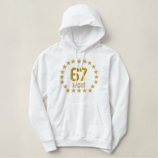 Your Monogram NUMBER Plus Text Stars Embroidery Embroidered Hoodie