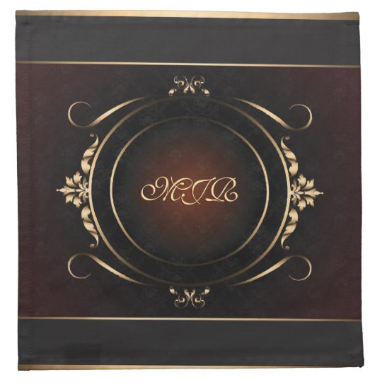 Your monogram on delux burgundy and royal gold napkins