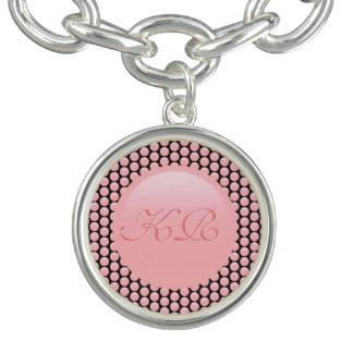 Your monogram on rose pink and black polka dots bracelets