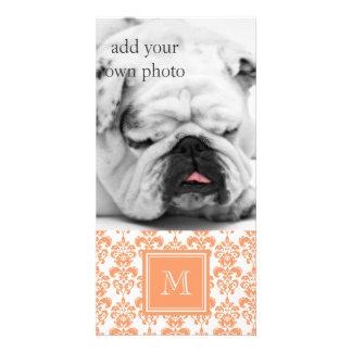Your Monogram Orange Damask Pattern 2 Product Photo Card
