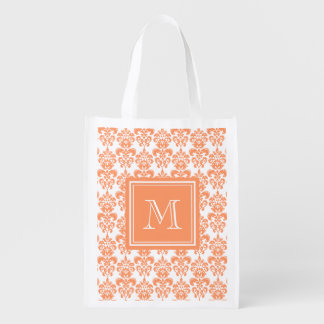 Your Monogram, Orange Damask Pattern 2    Product Reusable Grocery Bags