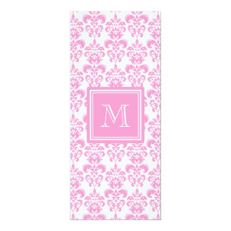 Your Monogram, Pink Damask Pattern 2 4x9.25 Paper Invitation Card