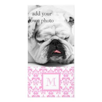 Your Monogram Pink Damask Pattern 2 Photo Card