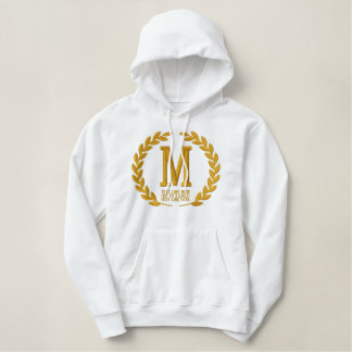 Your Monogram Plus Text Laurels Embroidery Embroidered Hoodie