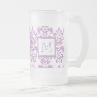 Your Monogram, Purple Damask Pattern 2 Frosted Glass Beer Mug