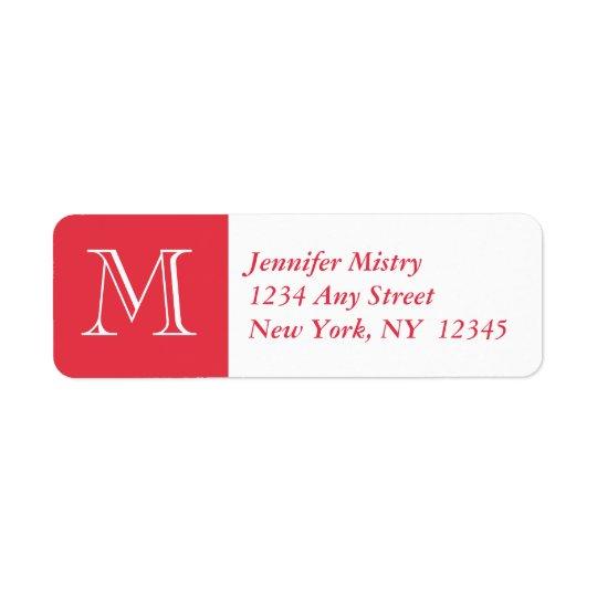 Your Monogram, Red White Return Address Label