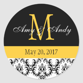 Your Monogram, Save the Date Damask Black Yellow Classic Round Sticker