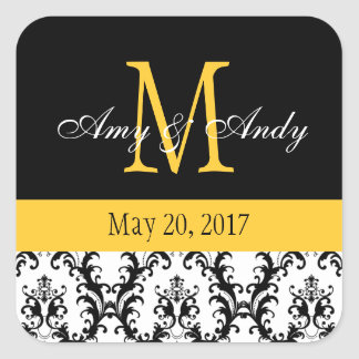 Your Monogram, Save the Date Damask Black Yellow Square Sticker