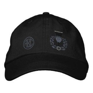Your Monogram Scottish Thistle Scotland in Black Embroidered Hat