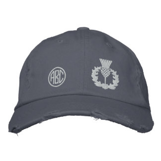 Your Monogram Scottish Thistle Scotland in white Embroidered Hat