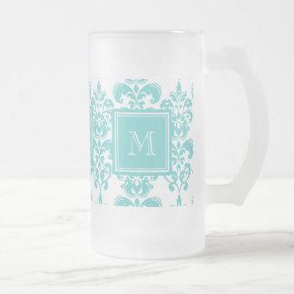 Your Monogram, Teal Damask Pattern 2 Frosted Glass Beer Mug