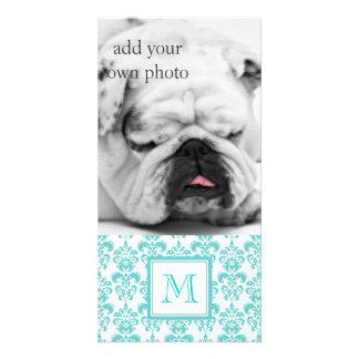 Your Monogram Teal Damask Pattern 2 Custom Photo Card