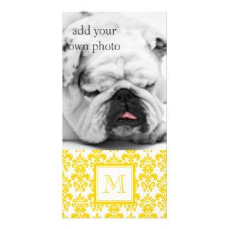 Your Monogram Yellow Damask Pattern 2 Photo Greeting Card