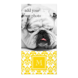 Your Monogram, Yellow Damask Pattern 2 Picture Card
