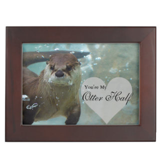 Your my Otter Half Brown River Otter Swimming Keepsake Box