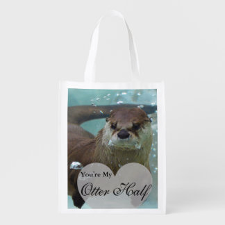 Your my Otter Half Brown River Otter Swimming Reusable Grocery Bag