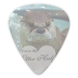 Your my Otter Half Brown River Otter Swimming White Delrin Guitar Pick