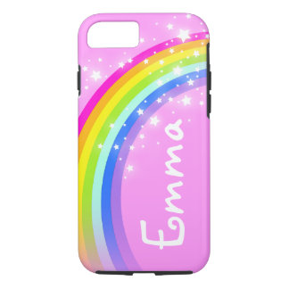 Your name 4 letter rainbow light pink iphone case