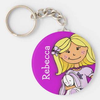 Your name 7 letter girls blonde purple keychain