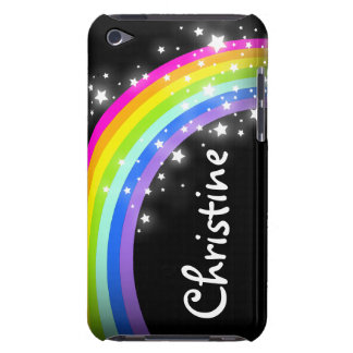 """Your name"" (9 letter) rainbow on black ipod case"