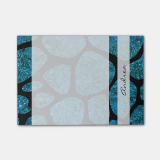 Your Name - Animal Print Giraffe, Glitter - Blue Post-it Notes