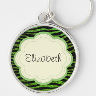 Your Name - Animal Print, Zebra, Glitter - Green Silver-Colored Round Keychain