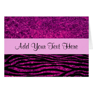 Your Name - Animal Print, Zebra, Glitter - Pink Card