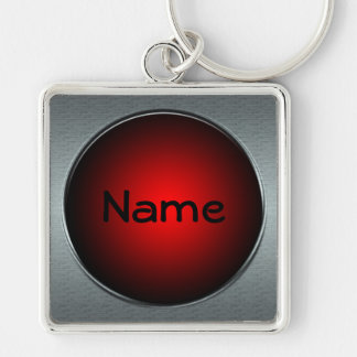 Your Name Big Red Button Keychain