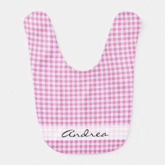 Your Name - Checkered Gingham Pattern - Pink White Bib