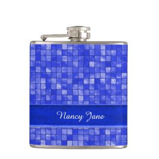 Your name, Cobalt Blue Geometric Tile Hip Flask