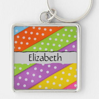 Your Name - Colorful Fabric Pieces, Polka Dots Keychain