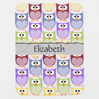 Your Name - Colorful Owls - Green Blue Purple Baby Blankets