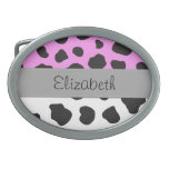 Your Name Cow Black White Pink Grey Oval Belt Buckles
