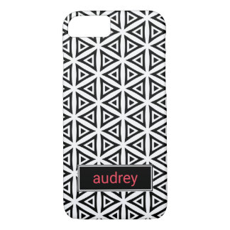 Your Name Crisp Triangular Black and White Pattern iPhone 8/7 Case