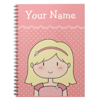 Your Name + Cute Little Girl (pink) Notebook