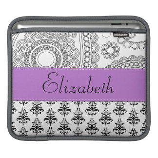 Your Name - Damask, Ornaments, Swirls - Black iPad Sleeve