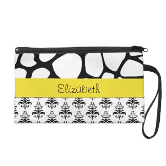 Your Name - Damask, Ornaments, Swirls - Black Wristlet Clutches