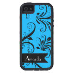 Your Name - Damask, Ornaments, Swirls - Blue Black