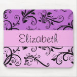 Your Name - Damask, Ornaments, Swirls - Pink Black Mouse Pad