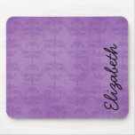 Your Name - Damask, Ornaments, Swirls - Purple Mouse Pad