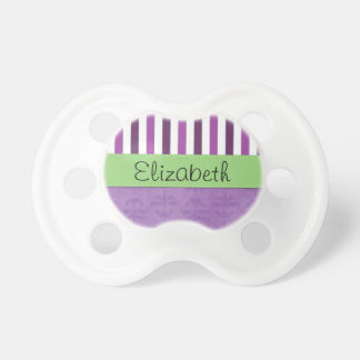 Your Name - Damask, Ornaments, Swirls - Purple Pacifiers